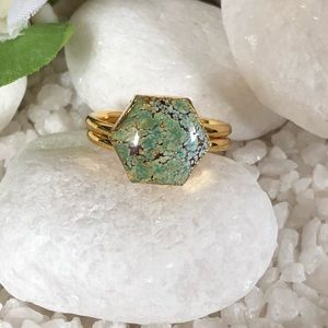 Jewelry - ✨✨✨GOLD PLATED NATURAL TURQUOISE RING🎉
